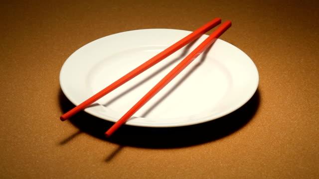 Chopsticks on a plate