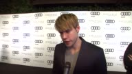 Chord Overstreet on kicking off Golden Globe week at this party what he's most looking forward to this evening what he thought of the Audi A8 at the...
