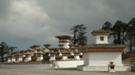 Chortens or Stupas built at the head of the Dochula Pass, Bhutan, Asia