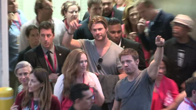Chris Hemsworth Jeremy Renner at the 2014 Comic Con Avengers 2 Panel in San Diego in Celebrity Sightings in San Diego