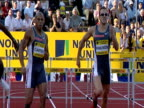 Chris Rawlinson and James Carter go head to head Rawlinson wins close finish and hugs Carter Men's 400m Hurdles 2004 Crystal Palace Athletics Grand...