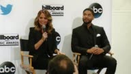 INTERVIEW Chrissy Teigen and Jussie Smollett at 2015 Billboard Music Awards Finalist Announcement Press Conference at Twitter on April 07 2015 in...