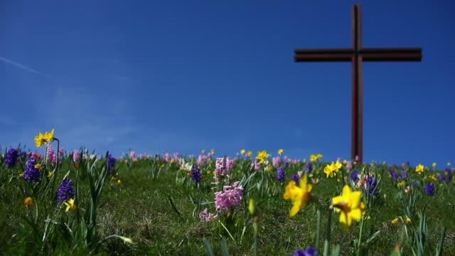 Christ Cross on Flower Covered Hill in Spring