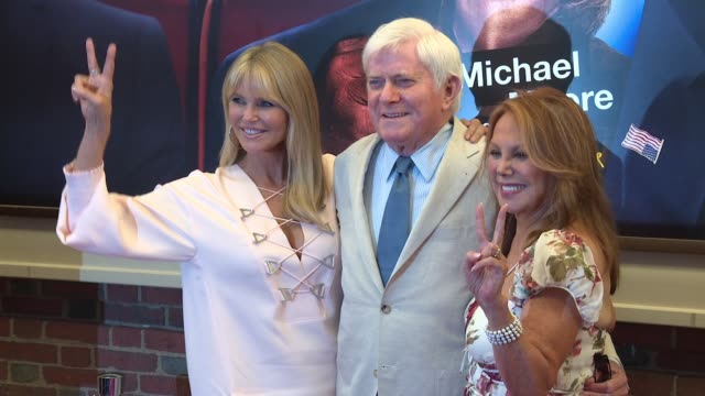 Christie Brinkley Phil Donahue and Marlo Thomas at AwardWinning Filmmaker Michael Moore Celebrates His Broadway Opening Night in 'The Terms of My...