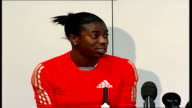 Christine Ohuruogu press conference Christine Ohuruogu press conference SOT I've not really heard much about it [using GPS mobile phones and computer...