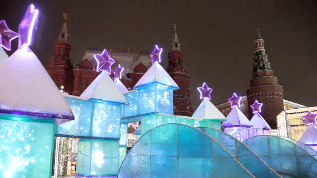 Christmas and new year illuminated decoration in Moscow Kremlin