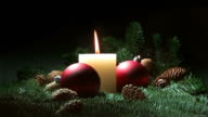 Christmas candle and red baubles