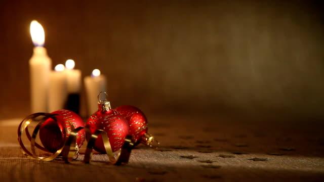 Christmas candles and balls