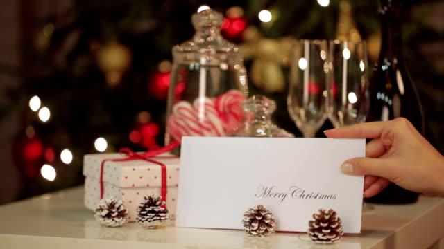 Christmas card on the table