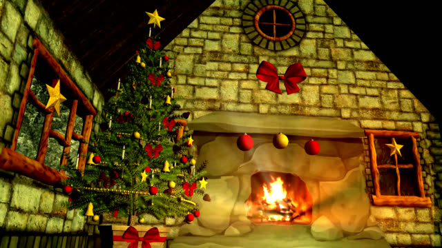 Christmas Cottage with Christmas Tree and crackling Fireplace
