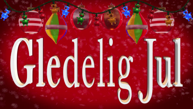 Christmas greeting in Norwegian with Christmas decorations and red background