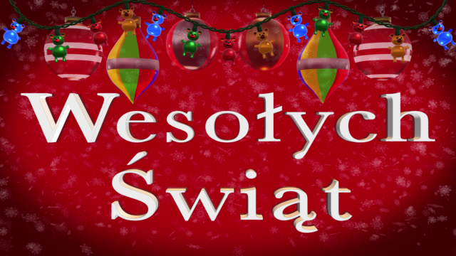 Christmas greeting in Polish with decorations and red background