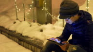 Christmas in Japan:Youngman Texting at night