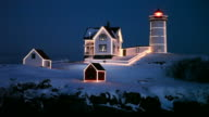 Christmas Lights auf den Leuchtturm Nubble Light