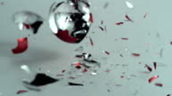SLO MO CU Christmas ornaments falling and breaking into pieces, New York State, USA