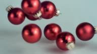 SLO MO CU Christmas ornaments falling, New York State, USA