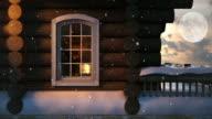 Weihnachten Szene Hinter dem Fenster 4 k/Endlos wiederholbar