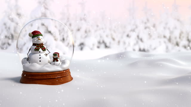 Christmas Snow Globe 4K animation with father and son snowman in snowstorm