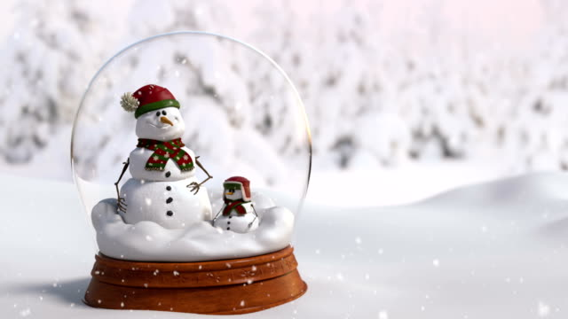 Christmas Snow Globe 4K animation with father and son snowman.Close-up camera angle