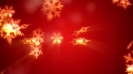 Christmas Snowflake background red Loop
