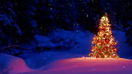 Christmas tree glowing outdoors in a snowy forest