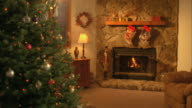 MS, Christmas tree in living room with fire place, Hortonville, Wisconsin, USA