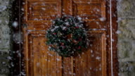 Christmas Wreath on door, Snowing - DOLLY