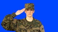 Chroma Key of Female Soldier Saluting
