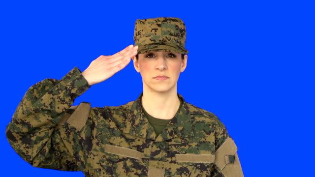 Chroma Key of Female Soldier Saluting