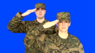 Chroma Key of Male & Female Soldier Saluting