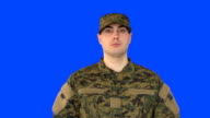 Chroma Key of Male Soldier Standing