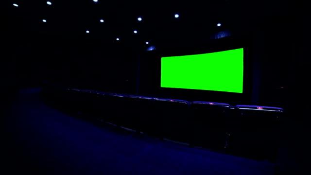 Chroma key screen in blue cinema hall