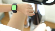 Chroma key,Woman wearing smart watch exercise