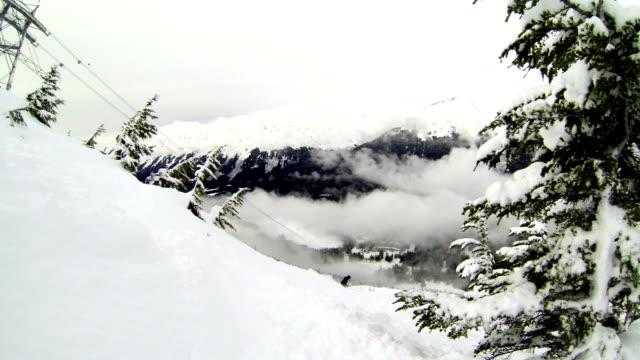 Chugach Mountains Alaskan wintersport Epic poeder skiën snowboarden en gondel renners inneemt in de berg to Ride