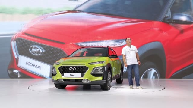 Chung Eui sun vice chairman of Hyundai Motor Co speaks during an unveiling ceremony for the company's Kona sport utility vehicle in Goyang South...