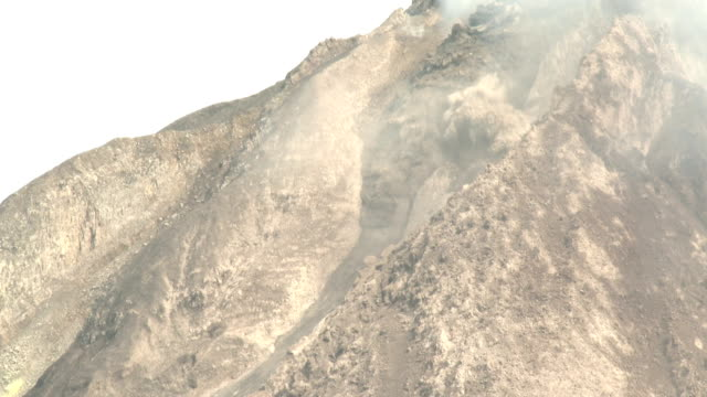 A chunk of the unstable lava dome at Sinabung volcano in Sumatra Indonesia collapses causing a pyroclastic flow to form