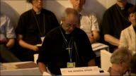 Church of England General Synod votes in favour of ordaining women bishops ENGLANFD York INT Man speaking at podium for 'The General Synod' High...