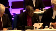 Church of England General Synod votes in favour of ordaining women bishops ENGLAND North Yorkshire York General Synod INT John Sentamu announcing...
