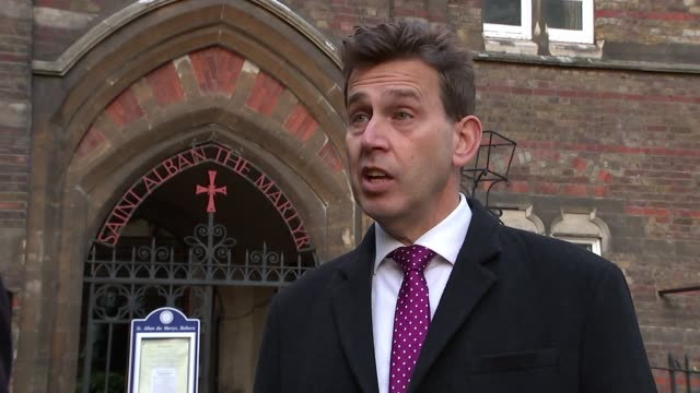 Church of England issues guidelines to its schools on gender identity Holborn EXT Nigel Genders from church entrance with reporter and interview SOT/...
