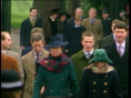 Church service/ Queen's Christmas message 1230 ENGLAND Norfolk Sandringham MS Prince Philip Princess Anne daughter Zara along towards followed by...
