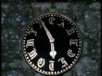 T/L Church Tower Clock , CU clock face, hands turning