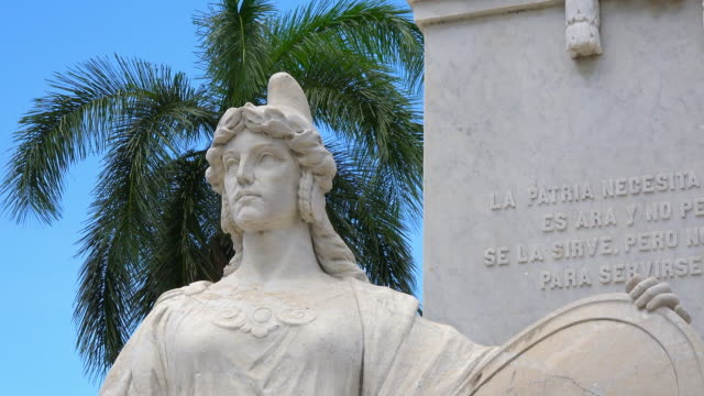 Cienfuegos, Cuba: Liberty Lady statue at the base of the Jose Marti white marble sculpture in the city