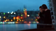 4K- Cinemagraph Istanbul Romantic Couple River View Parallax