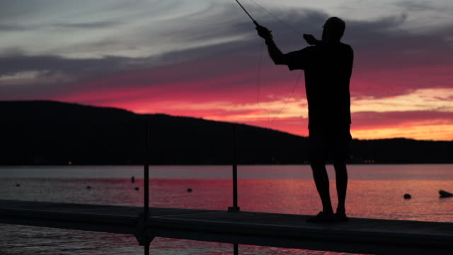 Cinemagraph of Man Fisherman at Sunset
