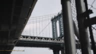 Cinematic shot of New York City's Manhattan Bridge on a gloomy afternoon.