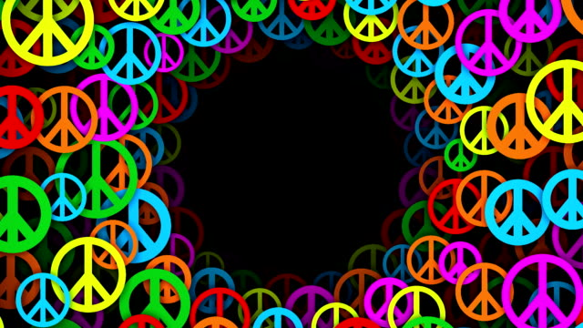 Circles of Multicolored Peace Symbols (Loopable)