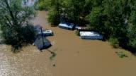 Cirkelen boven overstroomde huizen in de zone van de Columubus, Texas kleine stad Gulf Coast schade van Orkaan Harvey Path of Destruction.