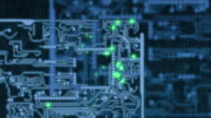 Circuit board with lights representing electrical signals
