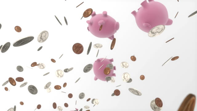 Circular loop through dozens of coins and piggy-bank
