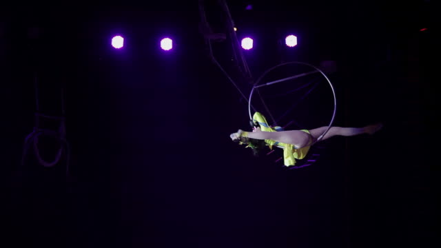 WS TS TD of Circus performer performing acrobatic in big top / Xian, Shaanxi, China
